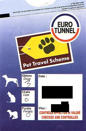 This was a sticker we were given to put on our windscreen to say that we had gone through Pet Passport Control successfully.
