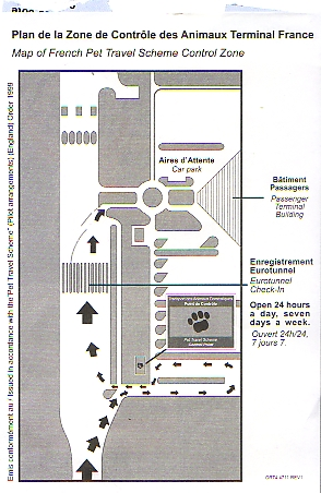Layout of the Eurotunnel Terminal at Calais including the location of the Pet Passport Control building.