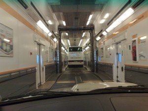 Driving onto Eurotunnel train with caravan